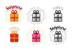 Gift box, surprise set of icons. Lettering vector illustration Stock Photography