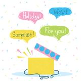 Gift box with surprise.Vector color holiday card with text. On bubbles stock illustration
