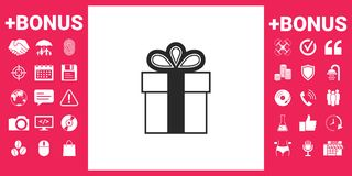 Gift box symbol icon. Signs and symbols - graphic elements for your design Stock Photos