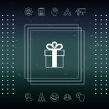 Gift box symbol icon. Signs and symbols - graphic elements for your design Royalty Free Stock Photos