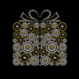 Gift box symbol jewelry conceptual design. Made from silver and golden seed beads. Luxury jewelry symbol design Royalty Free Stock Photos