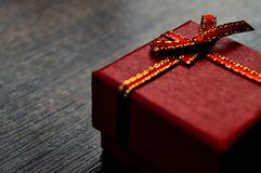 Gift box on table close-up abstract. Background royalty free stock photo