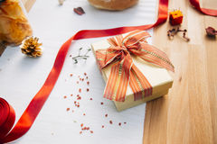 Gift box on table Royalty Free Stock Photography