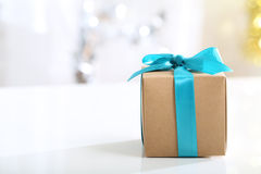 Gift box with Teal bow Royalty Free Stock Image
