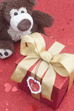 Gift box with teddy bear Royalty Free Stock Photography