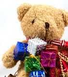 Gift box with teddy bear Stock Images