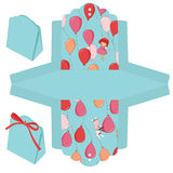 Gift box template. Gift box die cut. Balloons, bunny and girl pattern Stock Photography