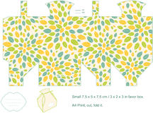 Gift box template. Favor box die cut. Foliage pattern. Empty label Stock Images
