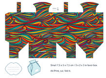 Gift box template. Favor box die cut. Waves pattern. Empty label Stock Images
