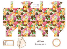 Gift box template. Favor, gift, product box die cut.  Abstract pattern. Empty label. Designer template Stock Photography