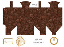 Gift box template. Favor, gift, product box die cut.  Coffe and cupcakes pattern. Empty label. Designer template Royalty Free Stock Photography