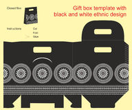Gift box template. With black and white ethnic design Royalty Free Stock Photos