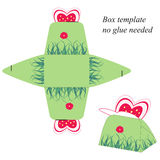 Gift box template with Butterfly, no glue needed vector illustration