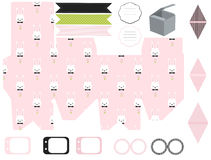 Gift box template, Easter party set Royalty Free Stock Images
