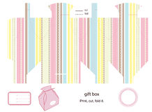 Gift box template. Favor box die cut. Abstract stripped pattern. Empty label Stock Photos