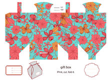 Gift box template. Favor, gift, product box die cut.  Floral pattern. Empty label. Designer template Stock Photography