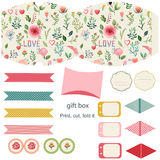 Gift box template. Favor, gift, product box die cut.  Watercolor floral pattern. Empty label. Designer template Stock Image