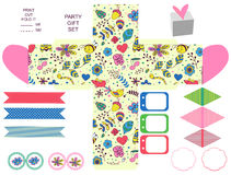 Gift box template  party set. Party set. Gift box template.  Abstract flowers and insects pattern. Empty labels and cupcake toppers and food tags Royalty Free Stock Photos