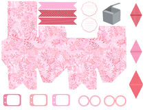 Gift box template  party set. Party set. Gift box template.  Abstract nature pattern with harbs. Empty labels and cupcake toppers and food tags Royalty Free Stock Photo