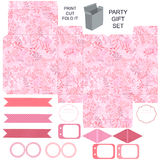 Gift box template  party set. Party set. Gift box template.  Abstract nature pattern with harbs. Empty labels and cupcake toppers and food tags Royalty Free Stock Photography