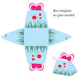 Gift box template with pink butterfly and flowers. No glue needed stock illustration