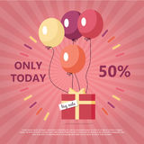 Gift Box with Text Big Sale Flying on Balloon. S. Only today fifty percent discount. Marketing message about price reducing. Sale banner retail purchase. Market Royalty Free Stock Image