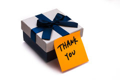 Gift box with thank you note. On white background Royalty Free Stock Photography