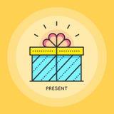 Gift box thin line icon. Stock Photo