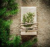 Gift box thuya fir tree branch on bagging background Stock Photos