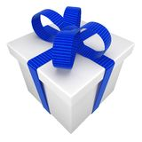 Gift box tied with a bow Stock Images