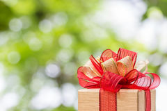 Gift box tied with gold and red ribbon. Stock Images