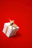 Gift box tied with raffia Royalty Free Stock Images