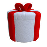 Gift box tied with red ribbon in plasticine or Royalty Free Stock Images