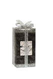 Gift box tied with silver ribbon Royalty Free Stock Image