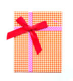 Gift box top view with red ribbon Royalty Free Stock Photos