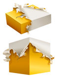 Gift box in torn yellow packing Royalty Free Stock Photo