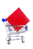 Gift box in trolley isoalted Royalty Free Stock Images