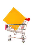 Gift box in trolley isolated Stock Image