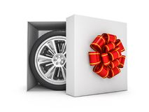 Gift box with tyres and wheels. 3D. Rendering Stock Images
