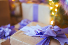 Gift Box. Under the tree, closeup Stock Photos