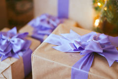 Gift Box. Under the tree, closeup Royalty Free Stock Photos