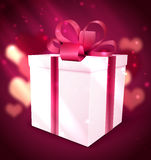 Gift box Valentine background Stock Photography