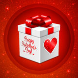 Gift box for Valentine's day on glitter background Stock Photography