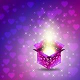 Gift box. Valentines Day. Heart, glow, stars Stock Image