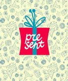Gift box. Vector colorful gift box on decorative background Royalty Free Stock Image