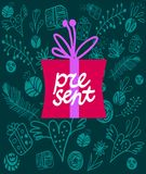Gift box. Vector colorful gift box on decorative background Stock Photography