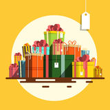 Gift Box. Vector Flat Design Present Boxes Heap Stock Images