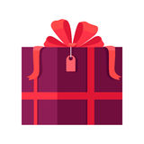 Gift Box Vector Icon in Flat Style Design Stock Photos
