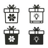 Gift Box icon set. Gift Box vector icons set. Black illustration isolated for graphic and web design Royalty Free Stock Photos