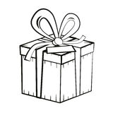 Gift Box. Vector Outline Present Box Illustration Royalty Free Stock Photos
